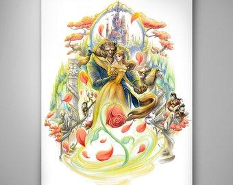 Disney - Beauty & the Beast// Art Print// Illustration