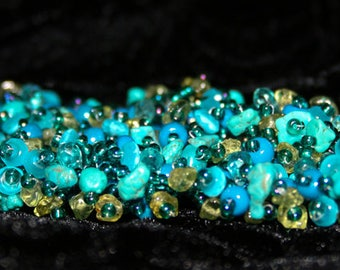 Peridot, turquoise & apatite hand beaded bracelet - made to order
