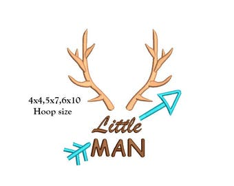 Little Man Antlers Embroidery Design - 3 sizes instant download Deer Antler little man embroidery