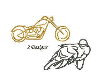 Motorcycle Embroidery Design - Outline only - 3,4,5,6,7 inch size - motorbike bike embroidery design - instant download