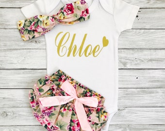 Newborn Girl Outfits, Newborn Girl Coming Home Outfit, Personalized Baby Girl Clothes, Baby Girl Coming Home Outfit, Newborn Girl Clothes