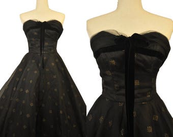 Vintage 1950s Emma Domb Black Gold Chiffon Strapless Sweetheart Gown Dress Velvet Bow Crinoline XS
