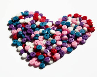 Mini Buttons (125 Buttons) - 6mm Micro Buttons - Small Buttons - Tiny Buttons - Doll Buttons Size - Plastic Buttons for Dolls Clothes
