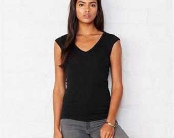 Sheer Mini Rib V-Neck T-Shirt