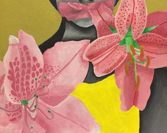 Emotional Girl Flowers artwork Bow Painting