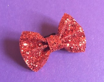 Red glitter dog bow