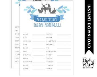 Baby Animals Name Games / Woodland Baby Animals Name Games / Forest Baby Animals Name Games / Baby Shower Games / Instant Download
