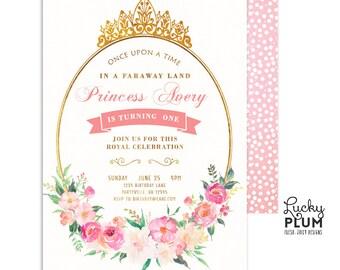 Princess Birthday Invitation / Tiara Birthday Invitation / Pink Gold Birthday Invitation / First Birthday Invitation / Glam Floral Pink Gold