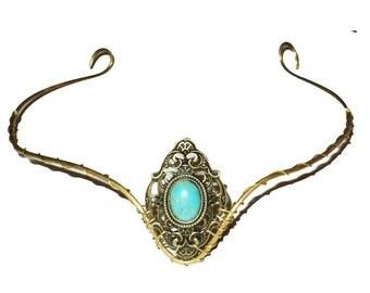 Brass elfish tiara circlet with turquoise gemstone.