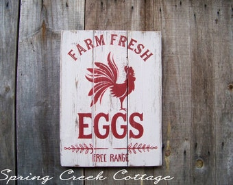 Fresh Farm Eggs, Chicken Coop Decor, Rustic, Handpainted, Wall Hangings, Farmhouse Decor, Red Rooster, Home Decor