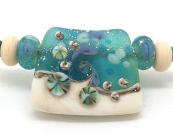 Lampwork Seascape Focal Bead SRA Handmade Glass Bead by Josephine Wadman