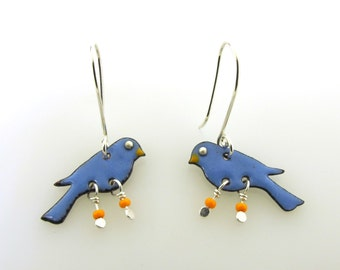 Blue Bird Earrings, enameled bird earrings, bird jewelry, bluebird dangle earrings, small earrings by Kathryn Riechert