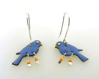 Blue Bird Earrings, enameled bird earrings, bird jewelry, bluebird dangle earrings, small earrings by Kathryn Riechert