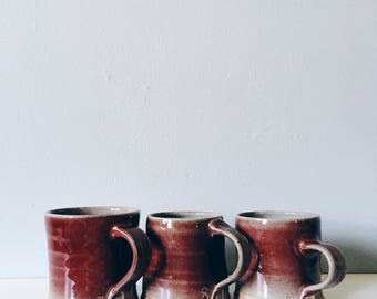 Ruby-red pottery cup - handmade ceramic mug - small coffee cup tea cup coffee mug