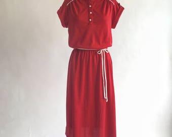 1970s Burgundy Red Short Sleeved Shirt Dress