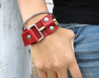 Red Leather Cuff with Mod Vintage Key - Red Steampunk Cuff - Red Leather Bracelet - MEDIUM to LARGE