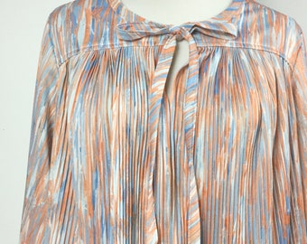 Orange Cardigan Top with Bow Neckline - Blue, Orange, White Abstract Print - Micro Pleated Open Front Blouse or Layering Piece - Vintage 70s