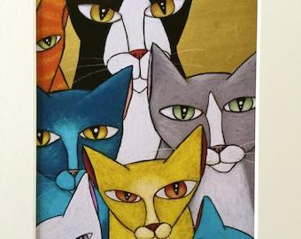 "Staring Contest 8 X 10"" Custom Matted Cat Print"