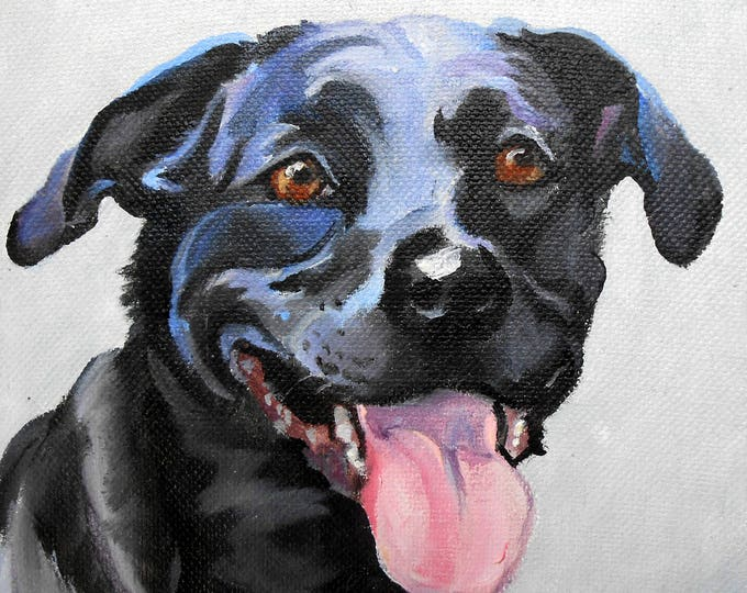 """Miniature Custom Pet Portrait Oil Paintings, Black Labrador Retriever or any Breed, 4"""" x 4"""" with tabletop easel"""