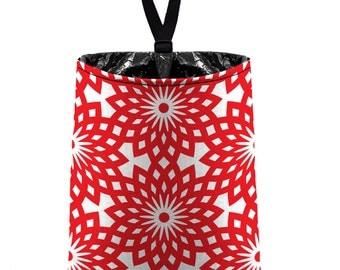 Car Trash Bag // Auto Trash Bag // Car Accessories // Car Litter Bag // Car Garbage Bag - Lotus - Red White Flower Medallion Floral