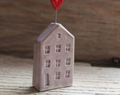 Ceramic Miniature Purple House with Red Heart - Ready to Ship