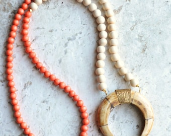 The Palawan- White and Coral Wood and Bone Pendant Statement Necklace