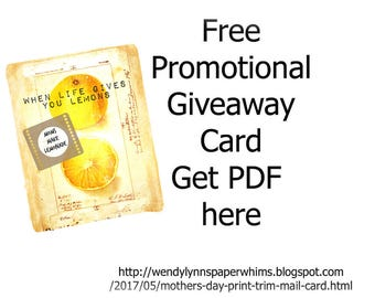 Free Promotional Giveaway Mom Mother's Day Card Blank Note Card Greeting Card Lemons Lemonade Instant Digital Download Print-Trim-Mail Card