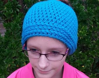 Messy Bun Hat in Aqua Pre-teen to Adult