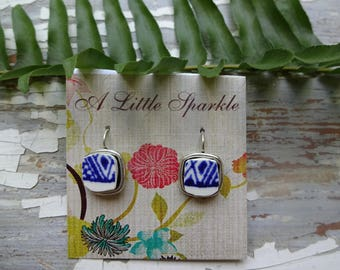 Blue and white broken China earrings,silver small square