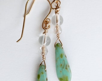 Czech glass dagger earrings,crystal. Gold filled wire.