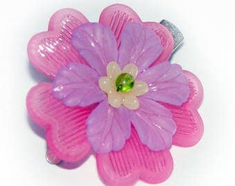 Pink Flower Hair Bauble Clip Beaded, Child, Woman, Girl, Scarf Hat  Hair Ornament 1.5 inch Alligator Clip
