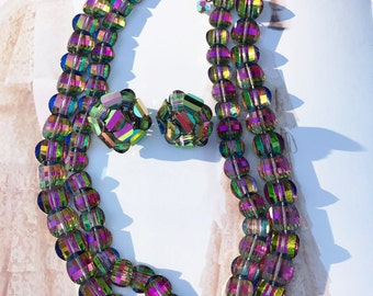 Rare signed Vogue Jlry demi parure carnival glass beaded iridescent necklace & earrings | matching clip earrings | jewelry set | Czech style