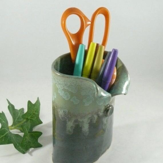 Desk organizer office accessory, Soap Dispenser, pencil holder, toothbrush holder, Lotion dispenser, ceramics and pottery flower vase