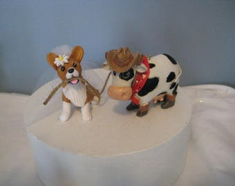 Corgi dog and cow Wedding, birthday, event Cake Topper, clay, OOAK, whimsical, farm, outdoor, wedding, rustic
