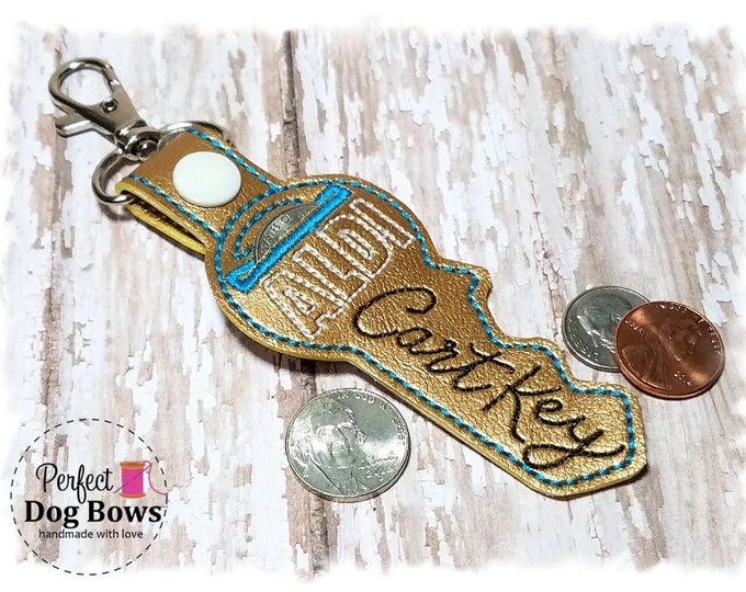 Gold Key Quarter Keeper , Key Coin Holder, Gold Cart Key, Quarter Holder, Gold Key Keychain