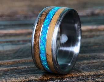Titanium Ring, Wood Ring, Whiskey Barrel Ring, Opal Ring, Wedding Ring, Mens Ring, Womens Ring, Mens Wedding Ring, Wooden Ring, Promise Ring