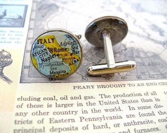 Vintage Map Cufflinks - Coin Dime Cufflinks Italy - Italian Rome Cufflinks -  Eco  Recycled Gift - Italy Man Gift Idea - Rome Man - Traveler