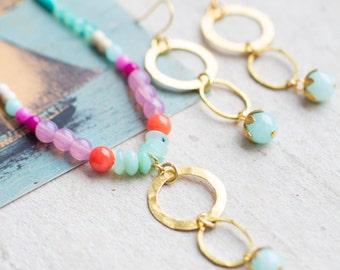 Gemstone Jewelry Set, Opal Necklace, Gold Jewelry Set, Mother's Day Jewelry, Jewelry Set for her