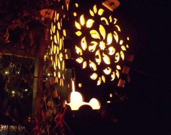 Seven Leaf Spiral Wood Cut LED Lantern
