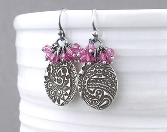Pink Earrings Drop Earrings Paisley Earrings Silver Jewelry Crystal Jewelry Beaded Jewelry Mother's Day Gift Idea for Women - Lily