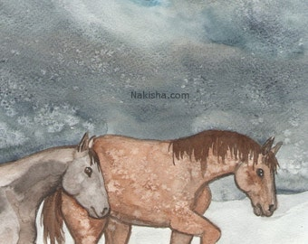 Original Art - The Five of Pentacles - Watercolor Horse Painting - Art from The Riderless Tarot