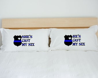 police pillows, police bedding, police gift, blue line gift, thin blue line, LEO gift, personalized pillow case, couples pillow cases