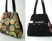 colorful bag, black tote bag, hobo bag, black purse, art purse, fabric handbag, shoulder bag, diaper bag, everyday bag, black handbag
