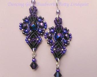 Black and Purple Macrame Earrings, Beaded Purple Earrings, Seed Bead Earrings, Micro Macrame, Purple and black earrings, Classic style