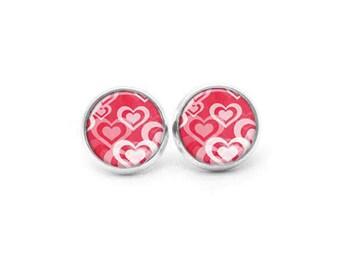 Pink Stud Earrings, Valentine Jewelry, Cute Earrings, Pink Silver Post Earrings, Antique Brass Post Earrings, Silver Lever Back Earrings