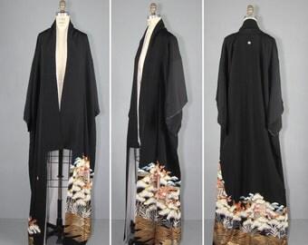 vintage kimono / tomesode / THROUGH THE WOODS silk robe