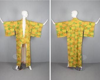 floral / silk kimono / ume / GOLDENROD vintage japanese kimono / robe