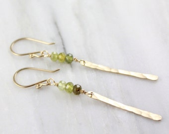 Grossular Green Garnet and Gold Icicle Earrings