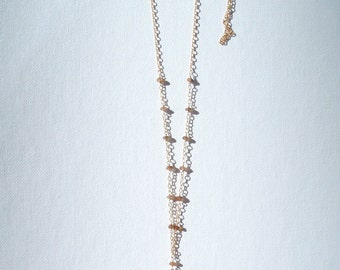 Pink Opal and Beige Tassel Necklace