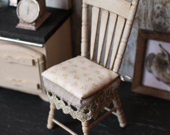 Dolls House Miniature Shabby Lace Chair in 1:12 scale